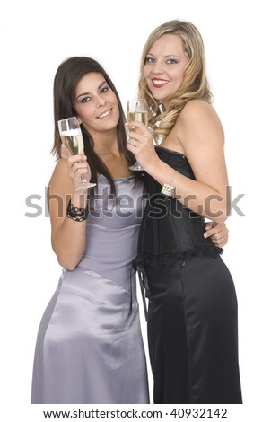 elegants friends at a new year party laughing - stock photo
