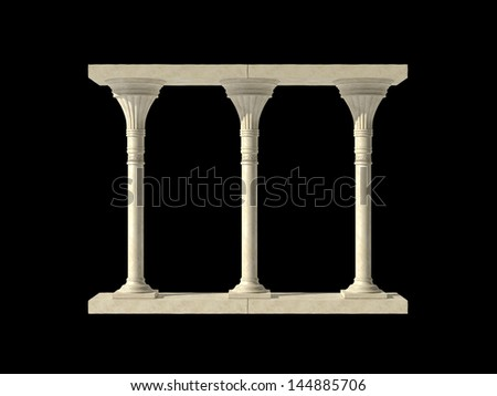Element of classical architecture portal with columns. Isolated on black - stock photo