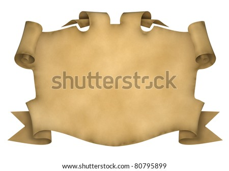 Element of design in the form of ancient parchment with curled edges. 3d rendered. - stock photo