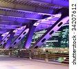 Element of modern bridge with illuminations at night - stock photo