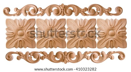 element woodcarving. furniture in classic style. white tree with gold trim. patina. carving. small depth of field. luxury furniture. isolated on the white background - stock photo