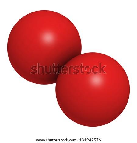 o2 molecule  Elemental oxygen (O2), molecular model.
