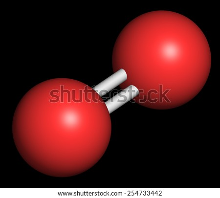 Elemental oxygen (O2), molecular model. Atoms are represented as spheres with conventional color coding: oxygen (red) - stock photo