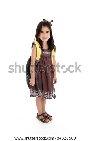 Elementary aged girl set on a white background