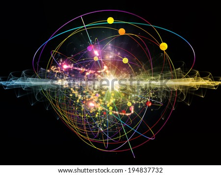 Elementary Particles series. Interplay of abstract fractal forms on the subject of nuclear physics, science and graphic design. - stock photo