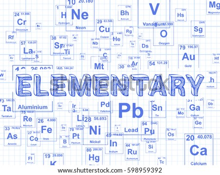 Elementary word on periodic table symbols stock illustration elementary word on periodic table symbols graph paper background urtaz Gallery