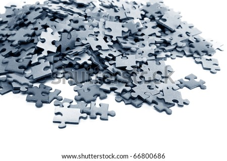 elements of a blue puzzle isolated over a white background - stock photo