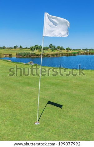 Elements of a golf course flag and hole. Vertical format. - stock photo