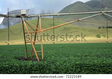 Elements of an automatic irrigation system on an agricultural farm in Mpumalanga, South Africa - stock photo