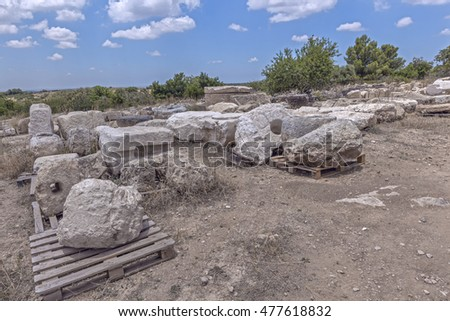 Elements of ancient architecture from excavations in Israel.