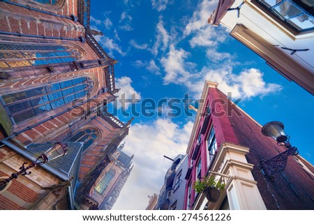 Elements of authentic Dutch architecture, wide angle shot in Amsterdam, the capital of the Netherlands, Europe. - stock photo