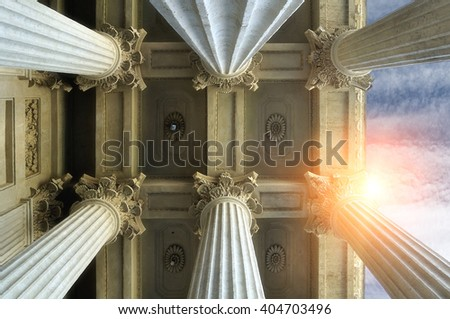Elements of colonnade and the ceiling of Kazan Cathedral  in Saint-Petersburg, Russia. Architectural landscape with sunset light.  - stock photo