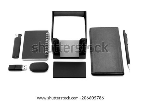 elements of corporate identity, black corporate identity, photo elements for corporate identity, set to accommodate corporate identity, collection of corporate identity, isolated on white background - stock photo