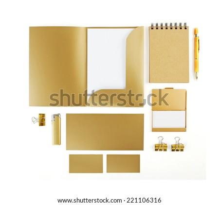 Elements of corporate identity, golden corporate identity, golden design elements, set to accommodate corporate identity, collection of corporate identity, isolated on white background - stock photo