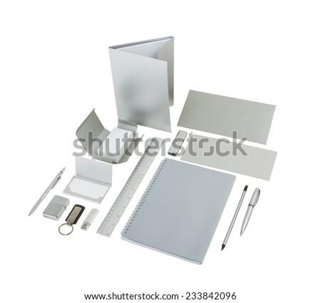 Elements of corporate identity, silvery corporate identity, silvery design elements, set to accommodate corporate identity, collection of corporate identity, isolated on white background - stock photo