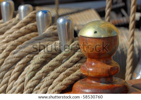 Elements of equipment of a yacht - stock photo