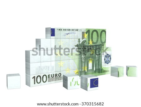 Elements of puzzle with banknote of euro. Isolated on white background - stock photo
