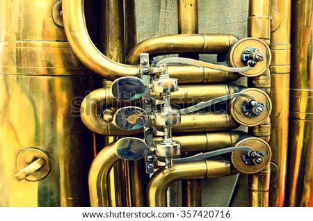 Elements of the musical pipes close up (vintage style) - stock photo