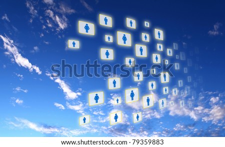 Elements of the social network against the sky. Signs and symbols combined into a single network. - stock photo