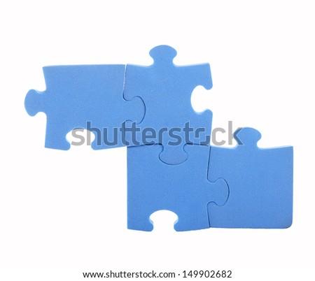 elements puzzle of blue isolated on white  - stock photo