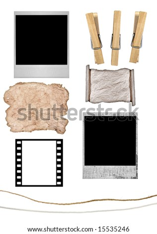 Elements to Create Your Own instant photo or Grunge Paper Hanging From Clothesline With Clothespins. All Items Isolated on White Background - stock photo