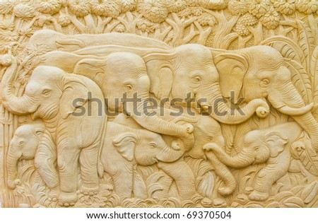 Elephant Art and stucco wall skilled natives in Thailand - stock photo