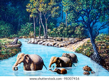 Elephant crossing the river by oil painting - stock photo