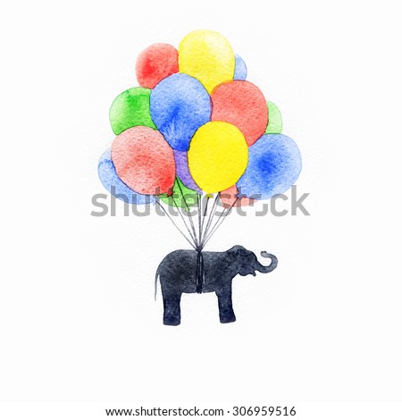 Elephant flying in a balloon. watercolor Illustration - stock photo