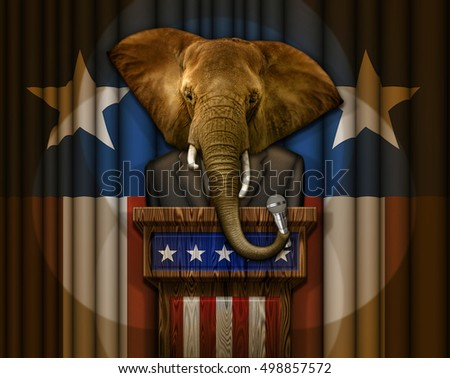 Elephant in a suit, standing at a podium, holding a microphone, with a flag design curtain behind him. 3D illustration created in Photoshop without 3D software.