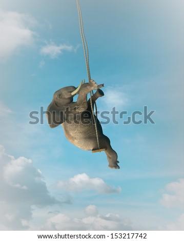 Elephant on a swing - stock photo
