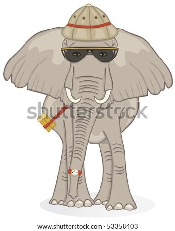 Elephant on Safari - RASTER Version - stock photo