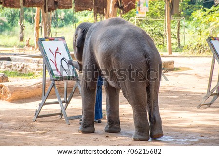 Elephant painting in picture elephant and tree frame at Lampang Thailand