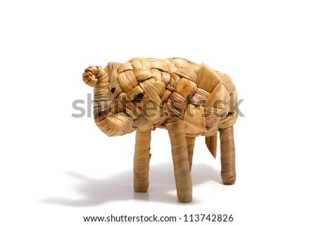 Elephant,reed handcraft wicker on white background - stock photo