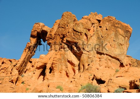 Elephant Rock in the Valley of Fire State Park - stock photo