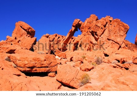 Elephant Rock, Valley of Fire State Park, Nevada, USA - stock photo