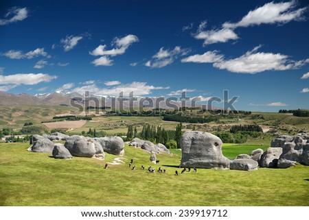 Elephant Rocks, Duntroon near Dunedin, South Island, New Zealand - stock photo
