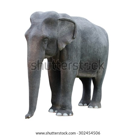Elephant statue on a white background.