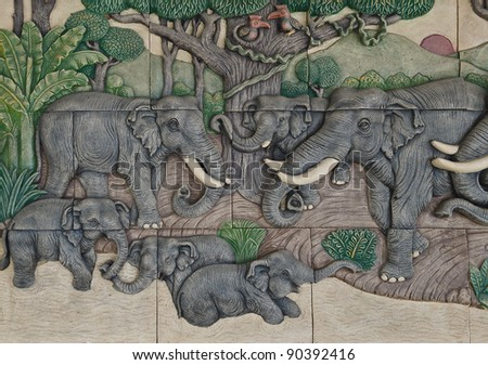 elephant Thai stucco on the temple wall - stock photo