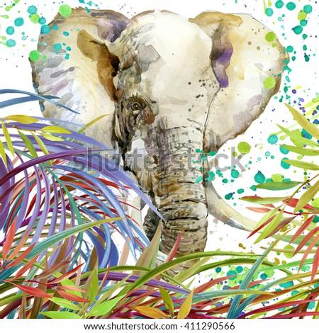 Elephant. Watercolor Elephant on plant background. Watercolor Elephant illustration. - stock photo