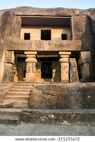 Elephanta Caves carving in Borivali, Mumbai. Example of Indian ancient archiecture - stock photo