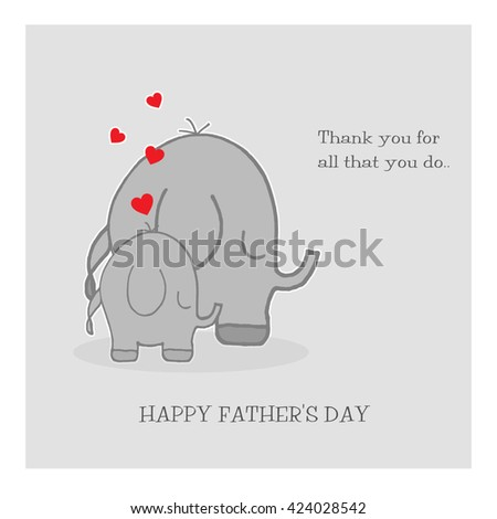 Elephants - Father's Day - stock photo