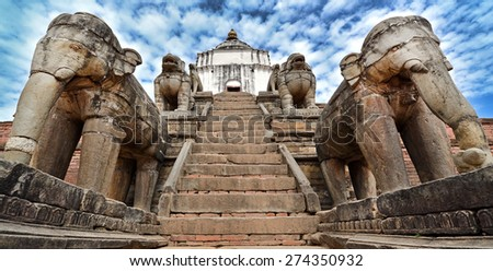 Elephants protecting a temple in Bhaktapur, Nepal. Now destroyed after the massive earthquake that hit Nepal on April 25, 2015 - stock photo