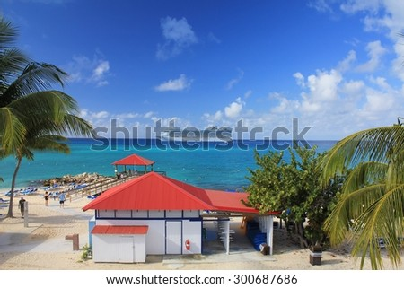 ELEUTHERA, BAHAMAS - FEBRUARY 9, 2014 : View from Princess Cays on Crown Princess ship anchored at sea. Princess Cays is a private resort of Princess Cruises - stock photo