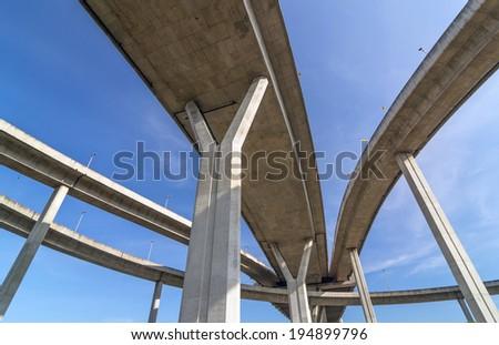 Elevated expressway,The curve of bridge, bangkok, thailand - stock photo