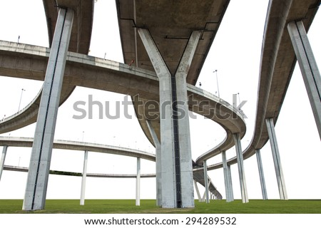 Elevated expressway. The curve of suspension bridge Large elevated traffic highway in Bangkok, Thailand. isolated on white background with clipping path. - stock photo