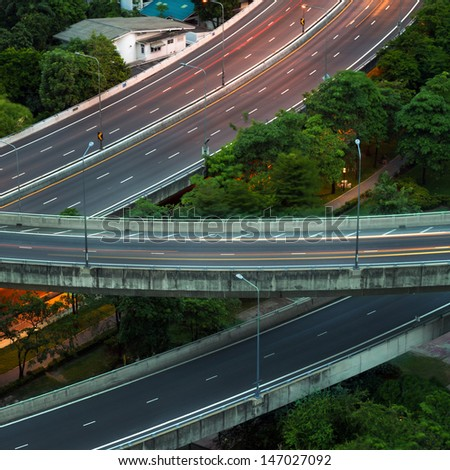 Elevated expressway. The curve of suspension bridge, Thailand. - stock photo