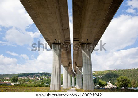 Elevated highwy above the valley - stock photo