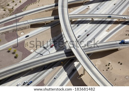 Elevated interchange for interstate highways in the southwest - stock photo