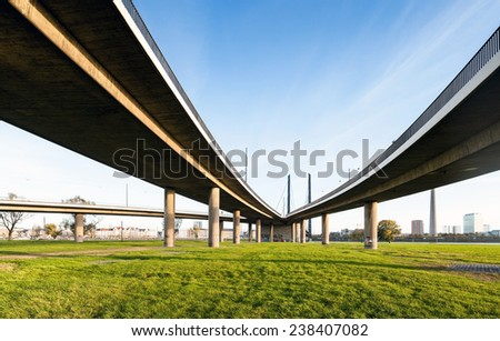 Elevated interchange highway bridge in Dusseldorf - stock photo