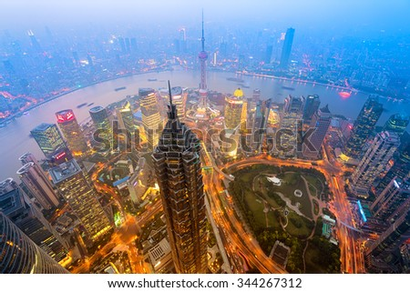 Elevated night view of Shanghai`s skyline. - stock photo
